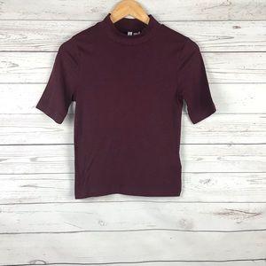 H&M Mock Turtleneck Short Sleeve Tee Size S